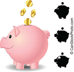 Piggy bank set with golden coins and silhouettes