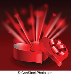 Glowing heart shaped box - Red glowing heart shaped box...