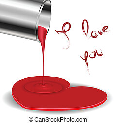 Spilled paint forming a heart with metal bucket for...