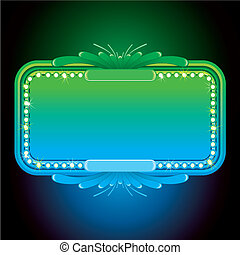 Abstract Turquoise Neon Sign. Vector Background