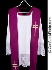 Priest surplice - White priest surplice and purple stole as...