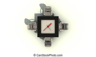 table with ticking clock