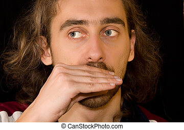 Man playing harmonica cant be seen - Man playing harmonica...