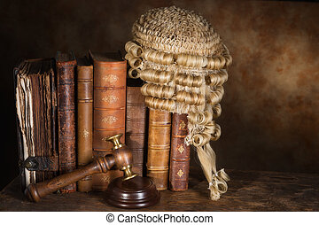 Judges books - Antique judges wig hanging on very old books...