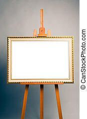 easel with antique painting frame