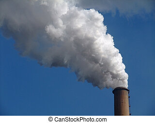 Smoke of a chimney - Detail of smoke of a chimney from a...
