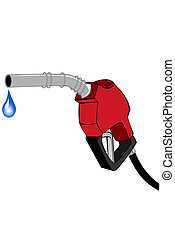 Red gas pump nozzle with water drop