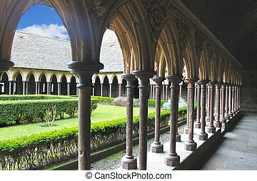 The monastery garden in the abbey of Mont Saint Michel....
