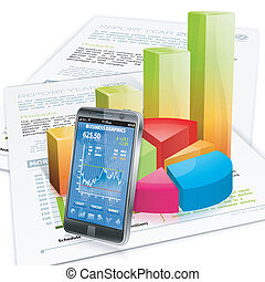 Business Concept - Financial Concept with Smartphone,...