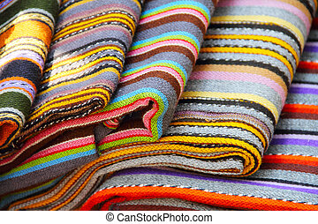 Traditional estonian colorful textile on showcase