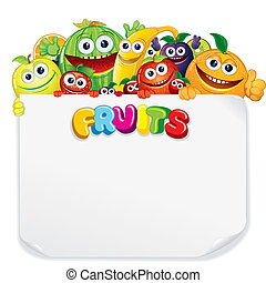 Cartoon Fruits with Blank Sign