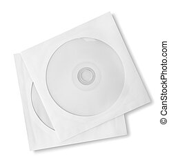 CD and paper case - CD with paper case isolated on white...