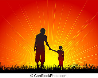 Father and daughter - Silhouette of a father and his...