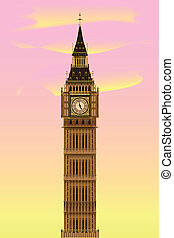 Big Ben at Dawn - The London landmark Big Ben Clocktower at...