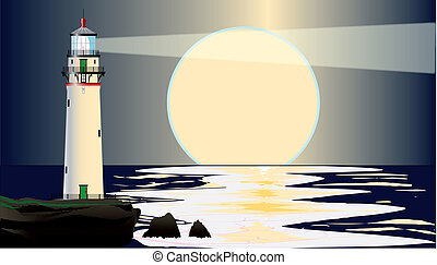 Lighthouse Night - A lighthouse at night, set against a dark...