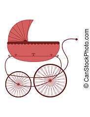 Stroller in retro style on a white background