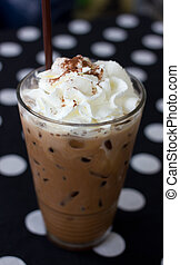 Coffee drink in a glass - Cold coffee drink with ice