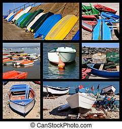 Mosaic photos of small boats