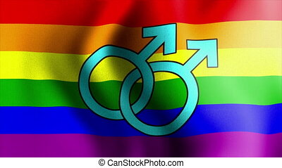 waving rainbow flag mars male sign