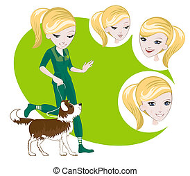 Girl walking with a dog - Several interchangeable items for...