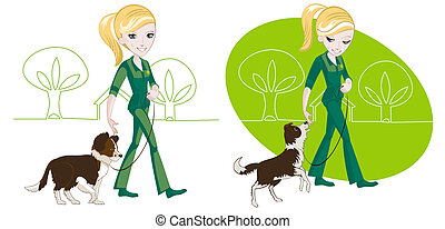Walking the dog - Two illustrations on the subject of dog...