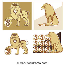 Heraldic lions - Set of vector symbols of reliability and...