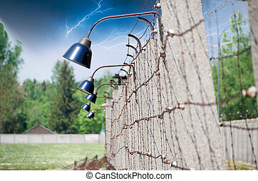 Barbed Wire in Dachau Concentration Camp, Germany