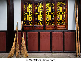 Straw Brooms Windows Wall Baoguang Si Shining Treasure...