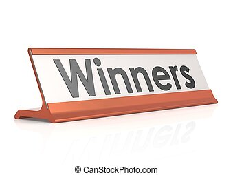Winners table tag - Rendered artwork with white background