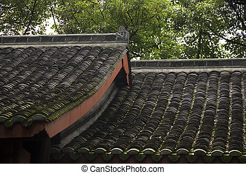 Temple Roofs Baoguang Si Shining Treasure Buddhist Temple Chengdu Sichuan China Front of Temple