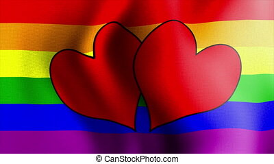 waving rainbow flag hearts