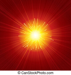 Red Sunburst - Brightly Red Sunburst Background