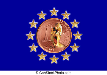 European flag - A European flag with a Euro coin and a...