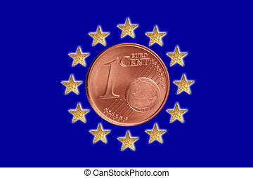 European flag - A European flag with a Euro coin