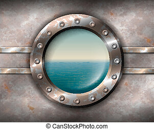 Rusty porthole with seascape