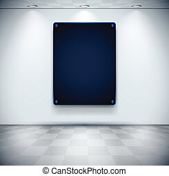 Room with black glass placeholder - White room with black...