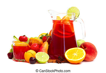 Sangris and fruits - Refreshing fruit sangria in jug with...