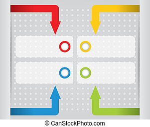 Infographic design with ribbons and notepapers