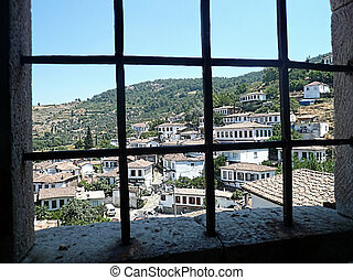 Old village on the hill through win - Scenery of an old...