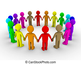Many people form a circle - Many different colored people...