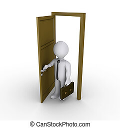 Businessman is opening a door - 3d businessman is opening a...