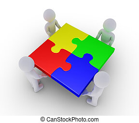 Four people holding completed puzzle