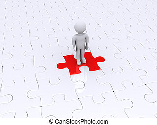 Person standing on different puzzle piece - 3d person is...