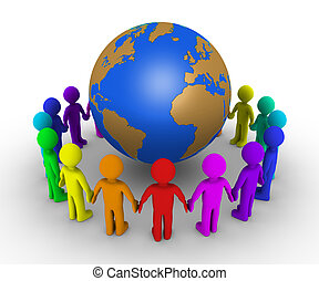 People form a circle around earth - Different colored people...