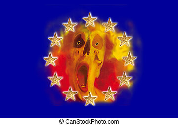 European flag  - A European flag with a screaming person