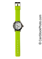 Fluor green sportive watch isolated on white background...
