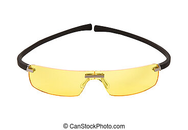 Sportive yellow light sunglasses isolated on white...