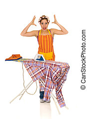Household, ironing - Young attractive upset housewife with...