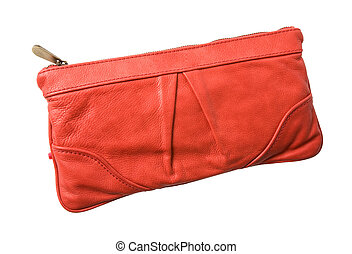 Red leather purse - Red leather handbag isolated on white....