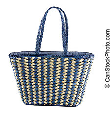 Blue striped basket tote, isolated on white background....